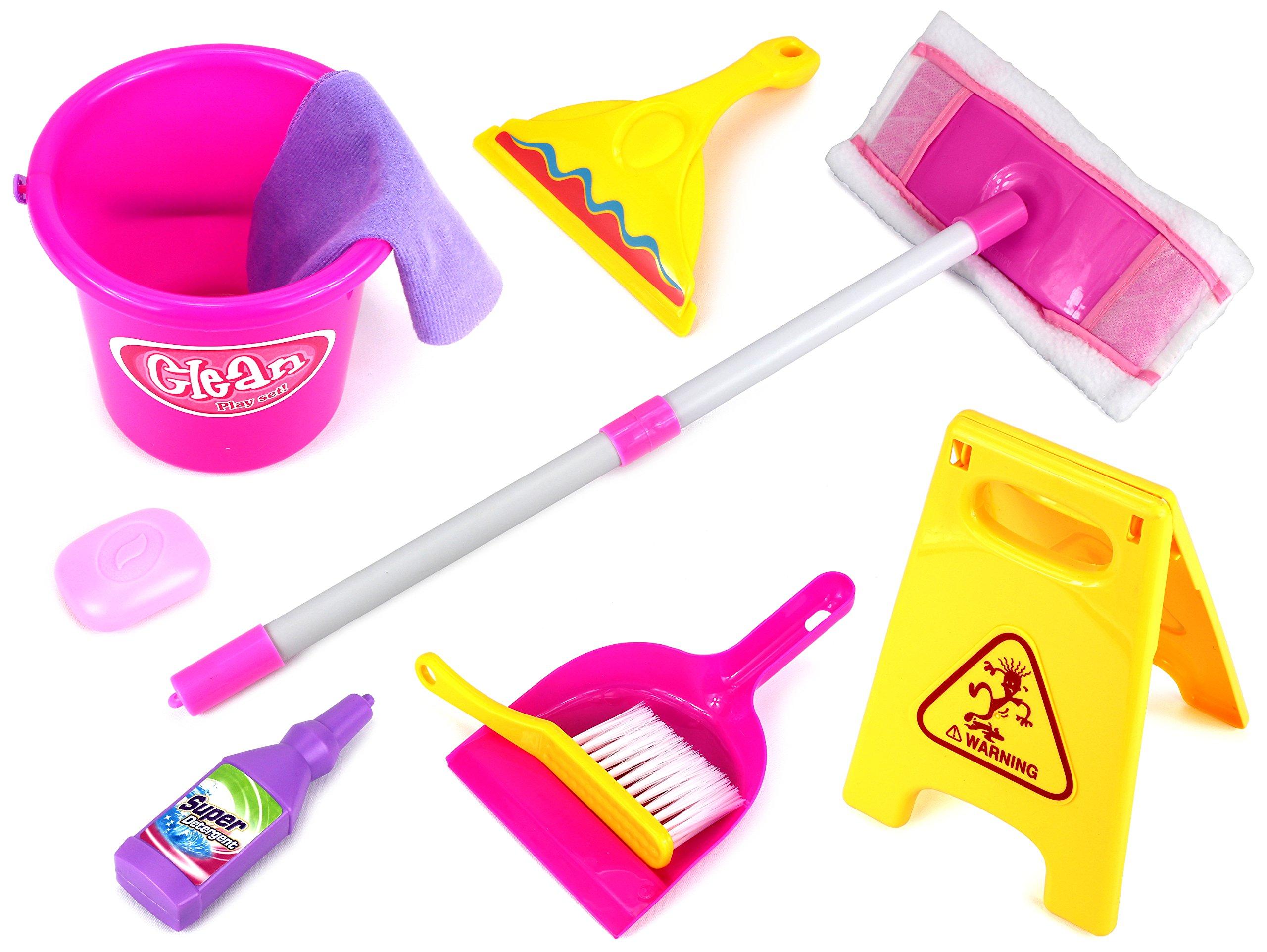 Velocity Toys Little Helper 'F' Deluxe Children's Kid's Pretend Play Toy Cleaning Play Set w/ Floor Dust Mop, Bucket, Dust Pan, Brush, Squeegee, Cleaning Rag, Wet Floor Sign, Mock Soap Bottle & Bar