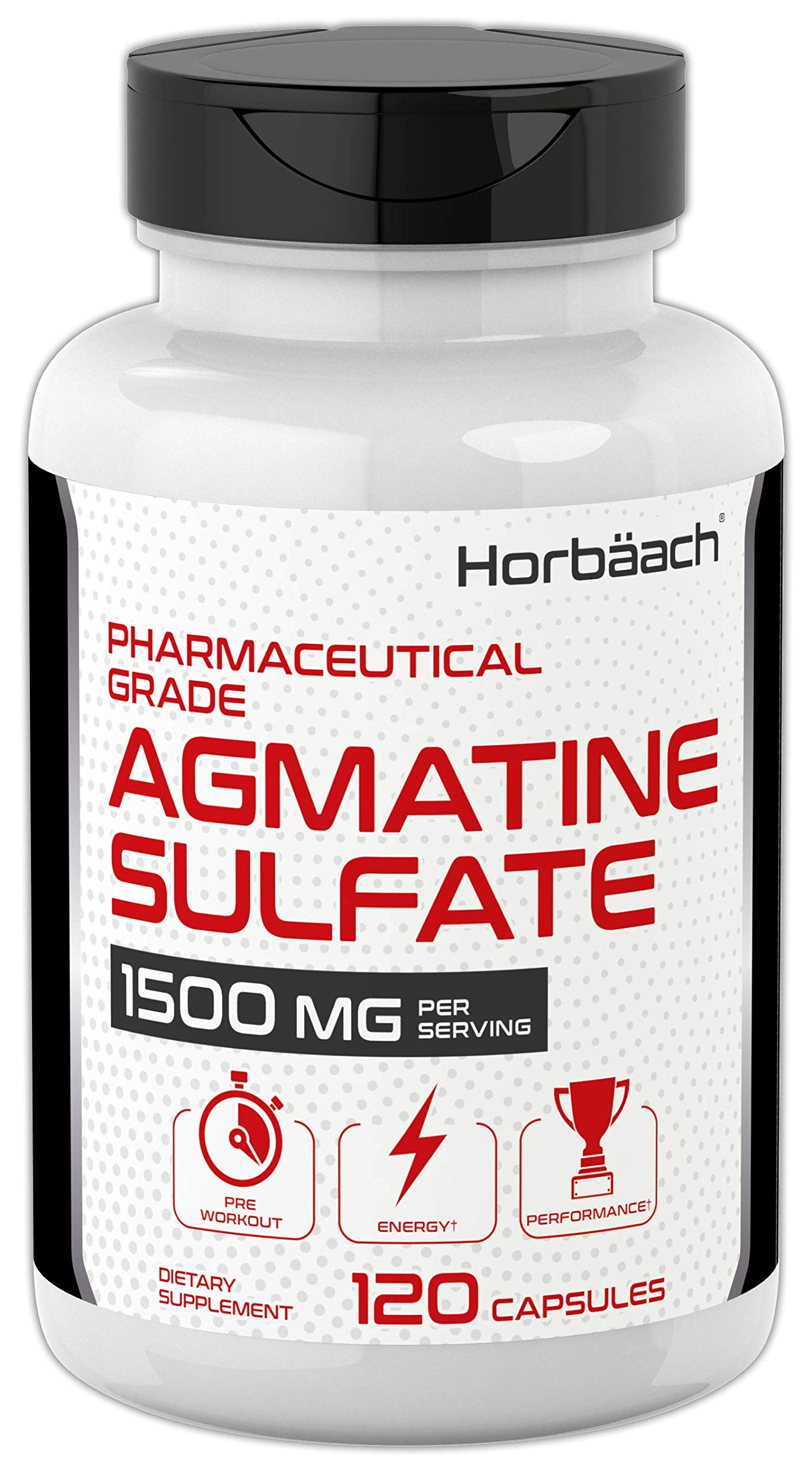 Agmatine Sulfate Capsules 1500mg   120 Pills   Pharmaceutical Grade   Non-GMO, Gluten Free Supplement   by Horbaach