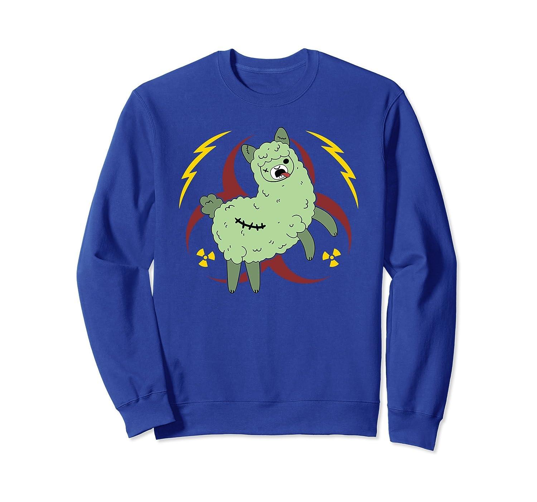 Zombie Alpaca Stitched Up Green Hazard Sweatshirt-mt