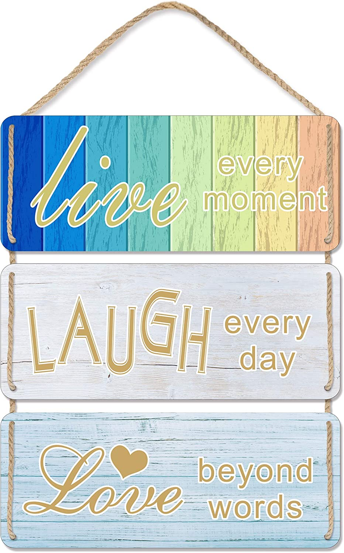 Uflashmi Live Laugh Love Wall Decor - Live Love Laugh Sign, Premium Metal Farmhouse