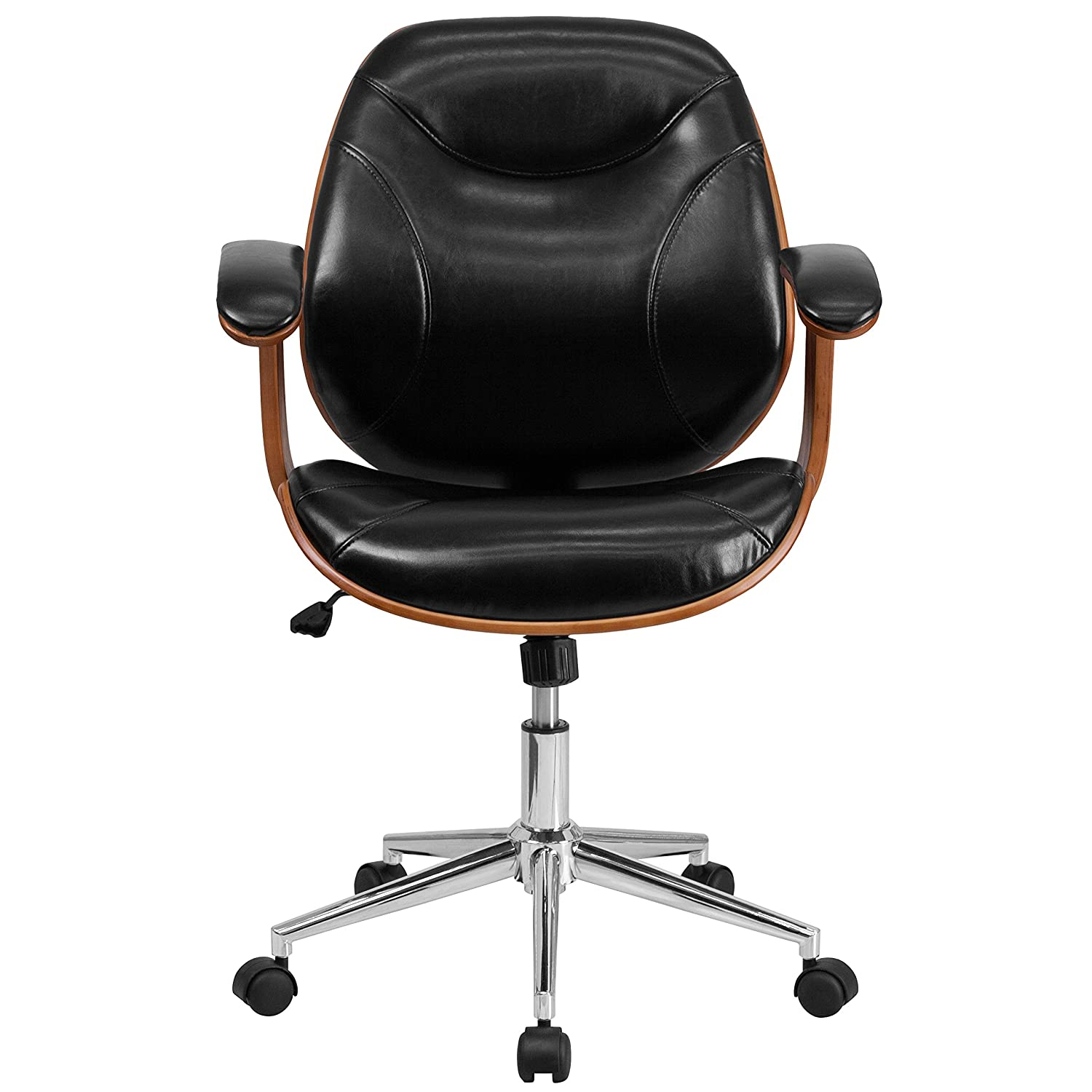 Amazoncom Flash Furniture MidBack Black Leather Executive Wood