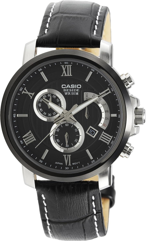 Casio Men s Beside BEM507BL-1AV Black Leather Quartz Watch with Black Dial