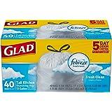Glad OdorShield Tall Kitchen Drawstring Trash Bags, Fresh Clean, 13 Gallon, 40 Count (Packaging May Vary)