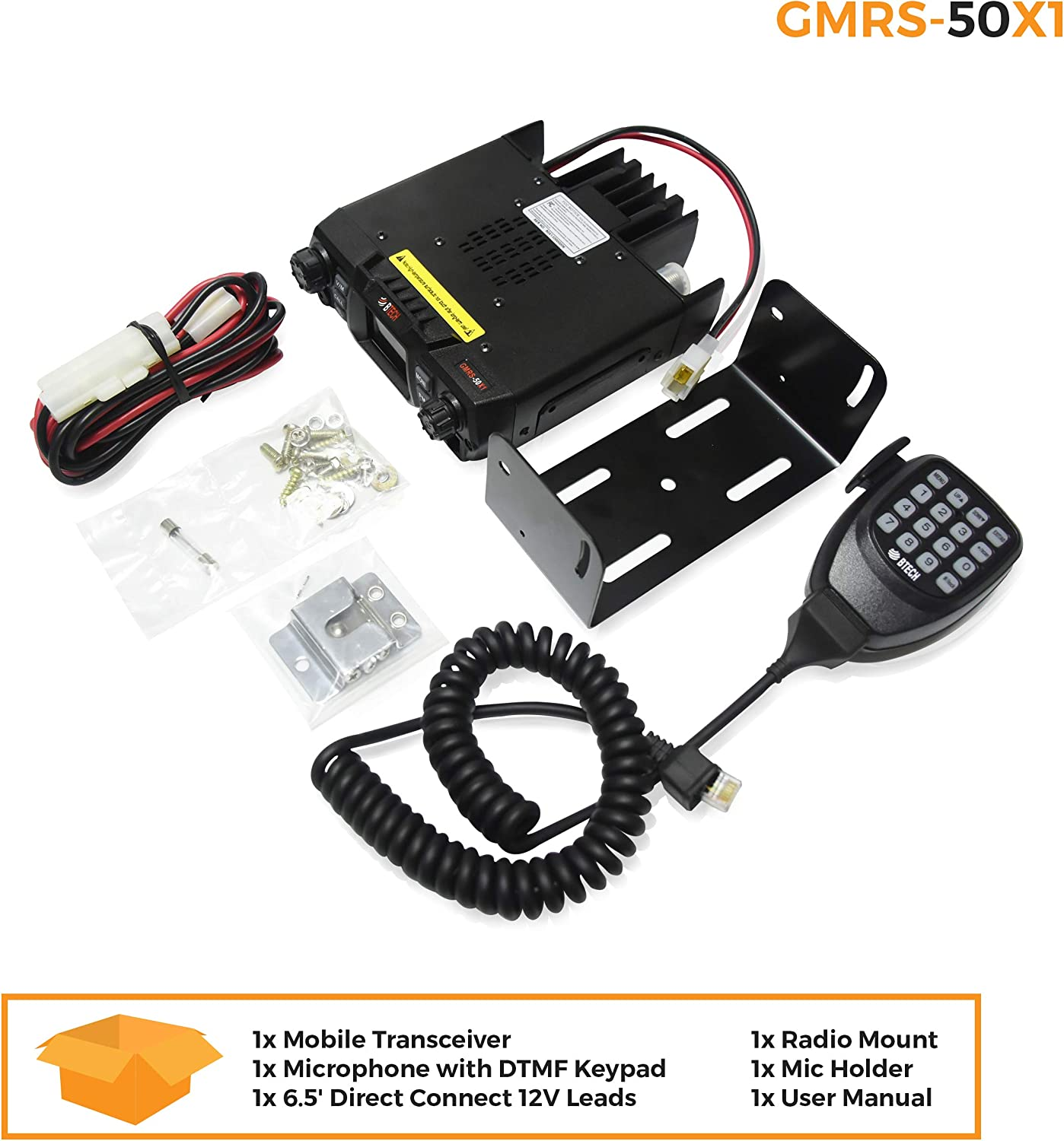 BTECH Mobile GMRS-50X1 50 Watt GMRS Two-Way Radio 136-174.99MHz with Dual Band Scanning Receiver UHF GMRS Repeater Capable VHF 400-520.99MHz