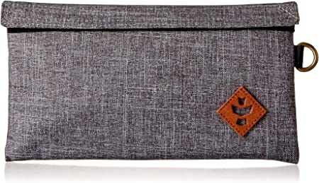 Revelry Confidant Money Bag Smell Proof Stash Pouch with Velcro Closure, Water Resistant with Triple System Carbon and Charcoal Filter, Canvas Exterior, Leather Trim and Brass Hardware (Crosshatch)