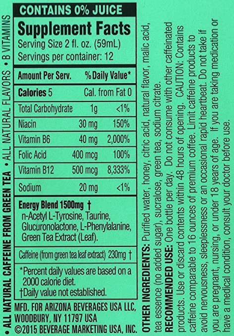 arizona tea company strengths Caffeine amount in arizona iced tea as well as safe amount, its sugar content, and how it compares to other drinks.