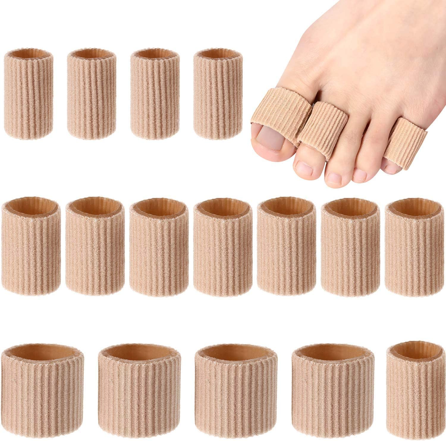 Toe Cushion Tube Toe Tubes Sleeves Soft Gel Corn Pad Protectors for Cushions Corns, Blisters, Calluses, Toes and Fingers (16 Pieces, Mixed Size Toe Cushion Tube): Health & Personal Care