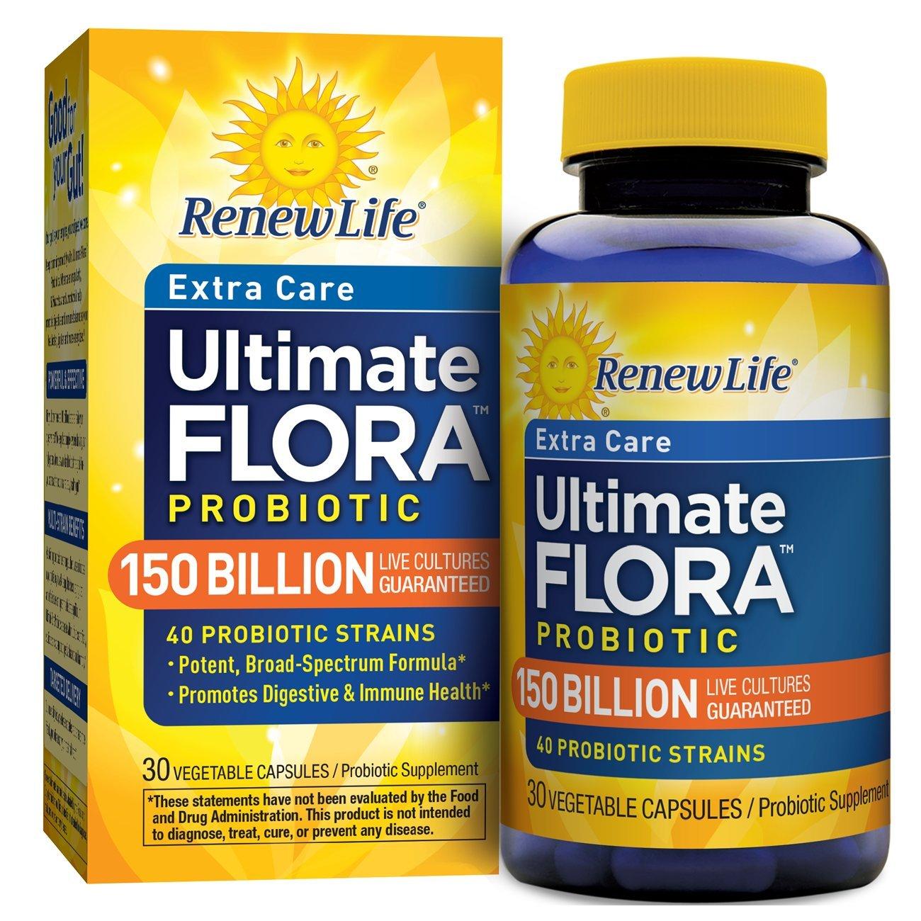 Renew Life Extra Care Probiotic, Ultimate Flora, 150 Billion, 30 Capsules