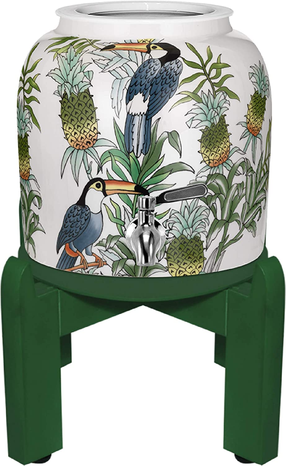 Geo Premium Porcelain Crock Water Dispenser (Nature Series) w/8 Inch Wood Stand, Ceramic Lid, Stainless Steel Spigot Included (Pineapple and Toucan Design)