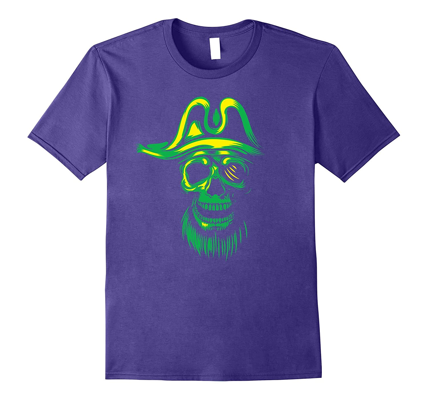 Green Neon Pirate Skull Halloween T-Shirt-FL