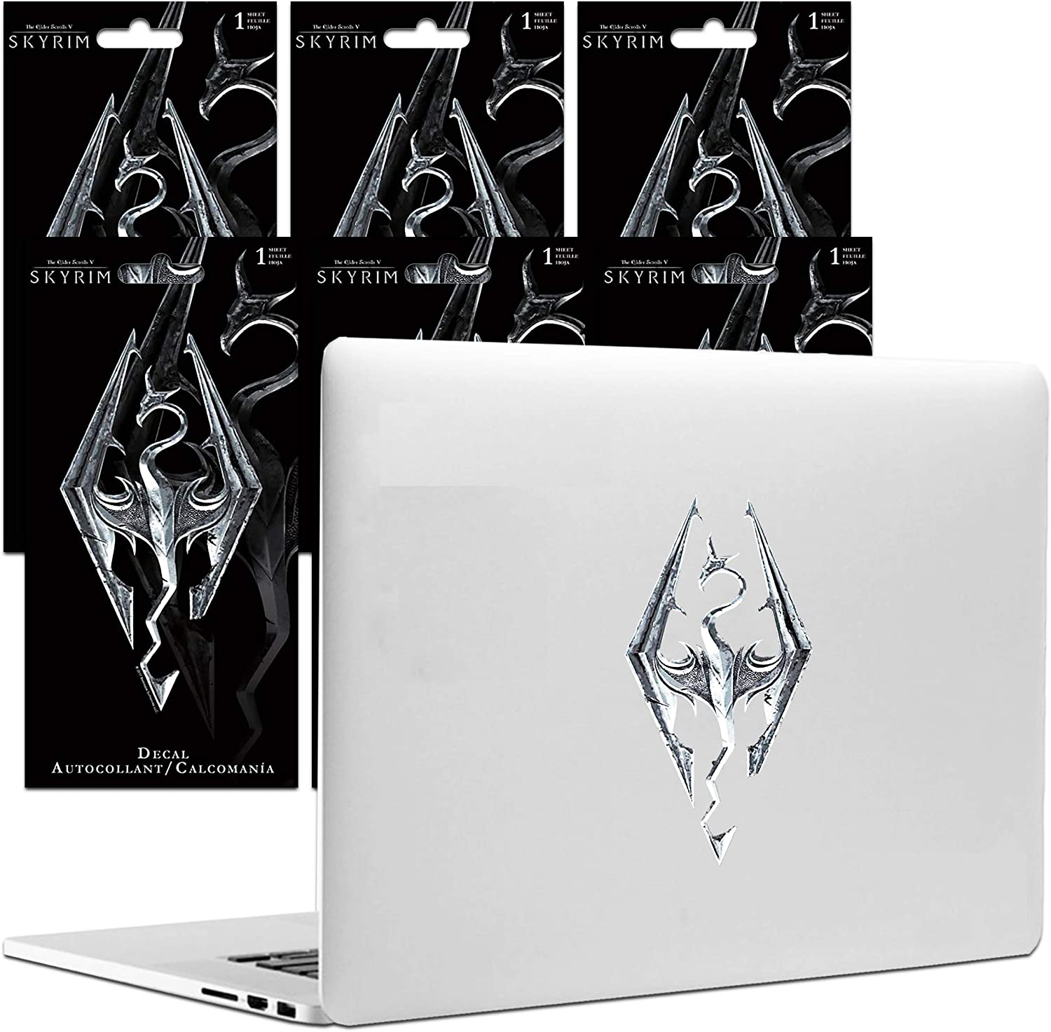Skyrim Room Decor Video Game Sticker Bundle - 6 Pack Deluxe Skyrim Decal Sticker Set Video Game Decal for Cars Auto Walls Laptop (Skyrim Video Game Party Favors)
