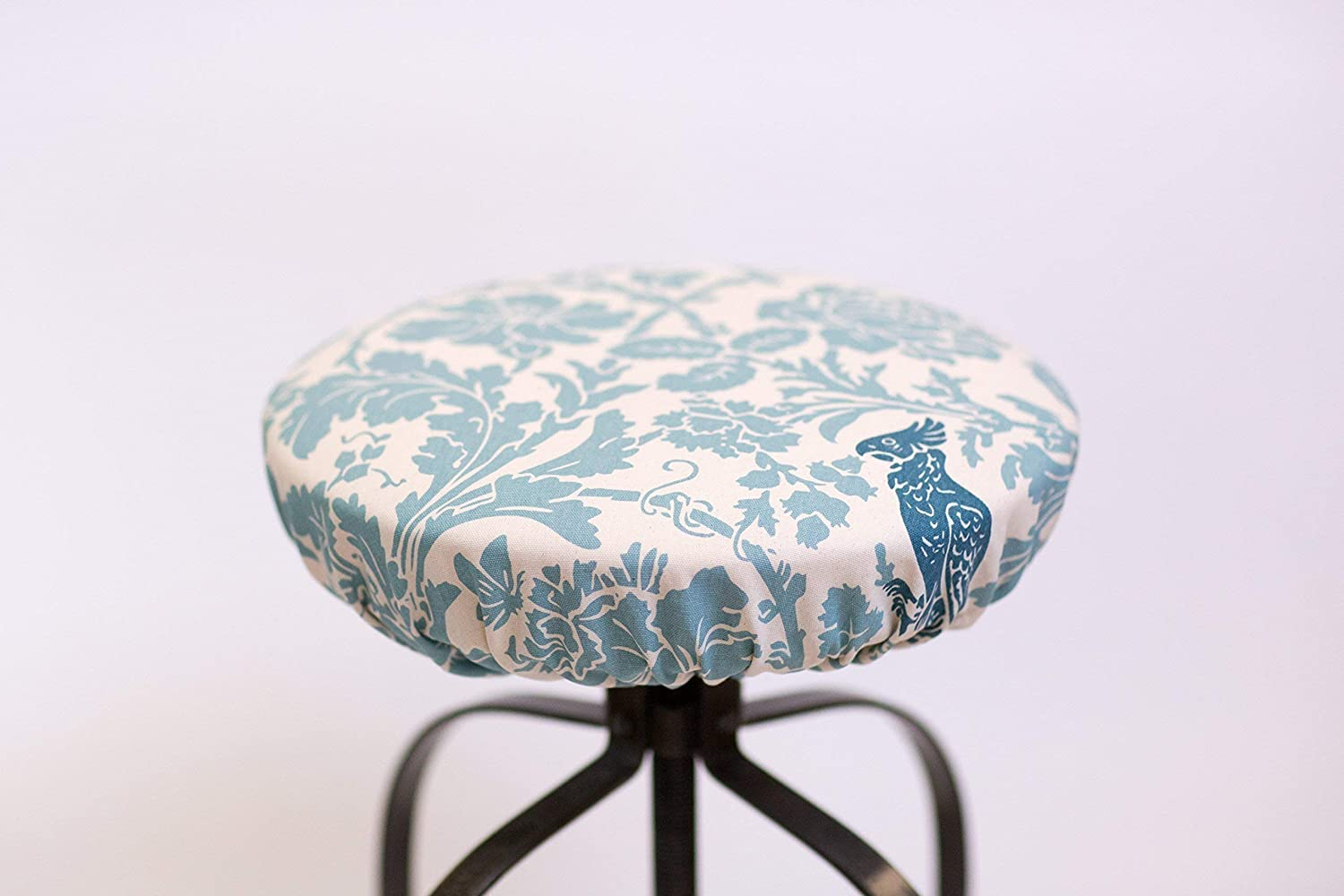 Cool Round Barstool Cover Barber Village Blue Fitted Stool Cover Floral Print Light Blue On Cream Fabric Elasticized Round Barstool Cover 12 To 20 Ncnpc Chair Design For Home Ncnpcorg