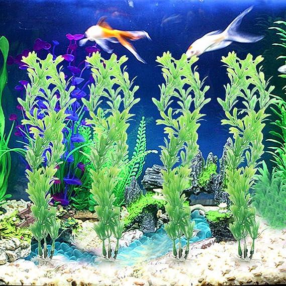 Yyooo - 10 Piezas de Plantas acuáticas de plástico Vivo Artificial pecera Acuario Adorno decoración: Amazon.es: Productos para mascotas