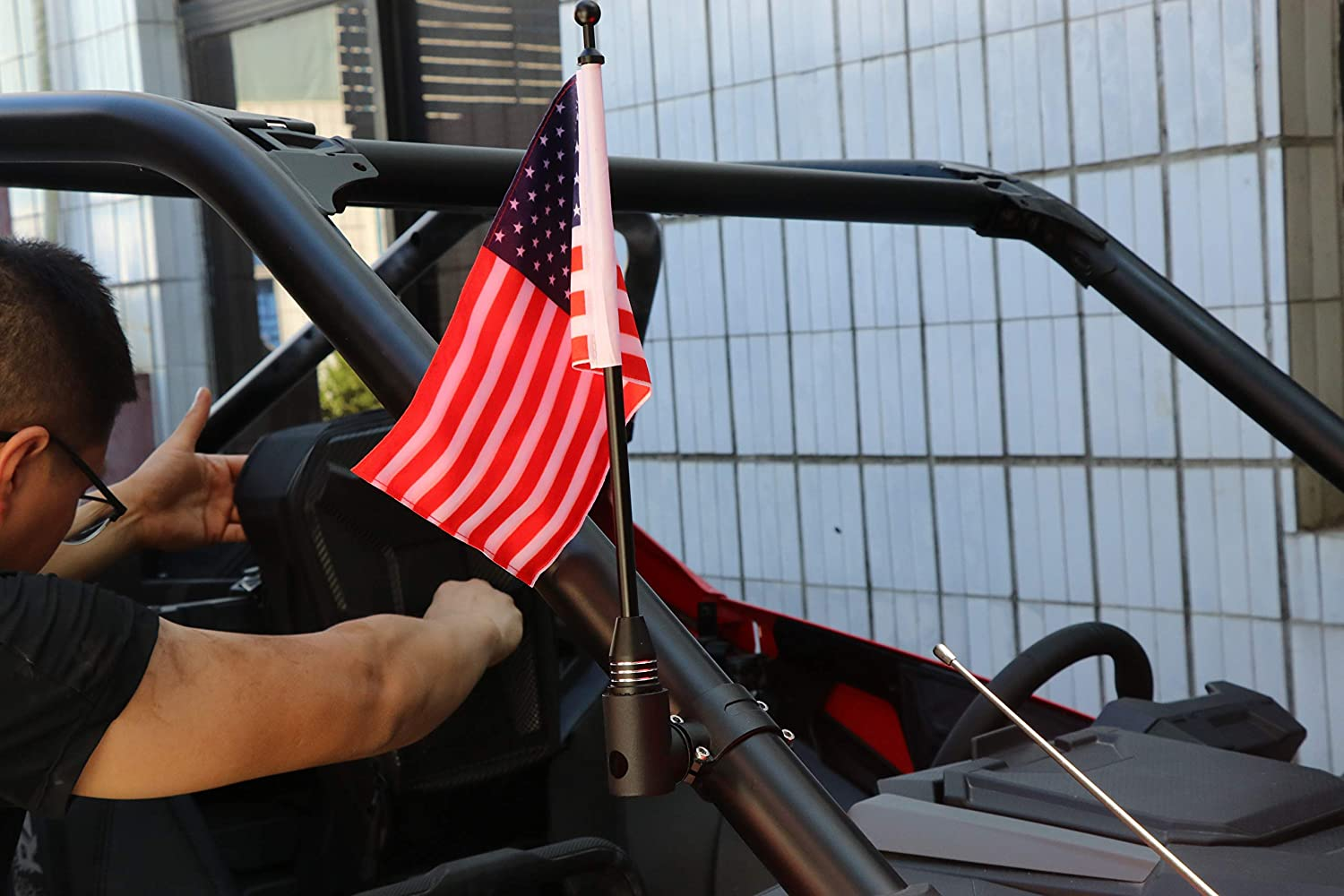 PLUSUTV Black Aluminum Alloy Roll Bar Flagpole Set with US Flag for UTV ATV and Other Models with 1.75-2inch Roll Bar