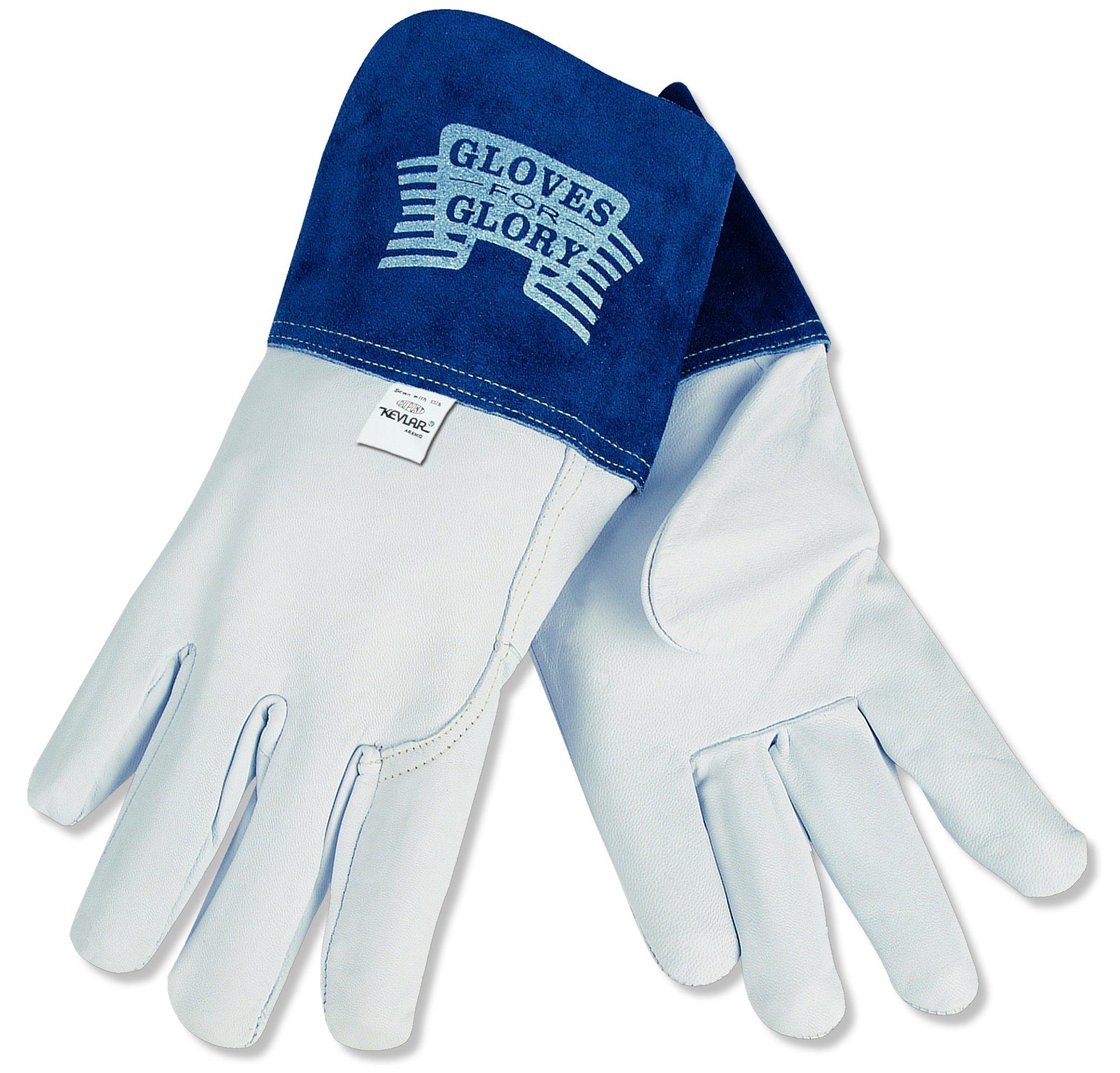 MCR Safety 4850L Gloves for Glory Premium Grain Goatskin MIG/TIG Welder Men's Gloves with Split Cow Gauntlet Cuff, Natural Pearl, Large, 1-Pair