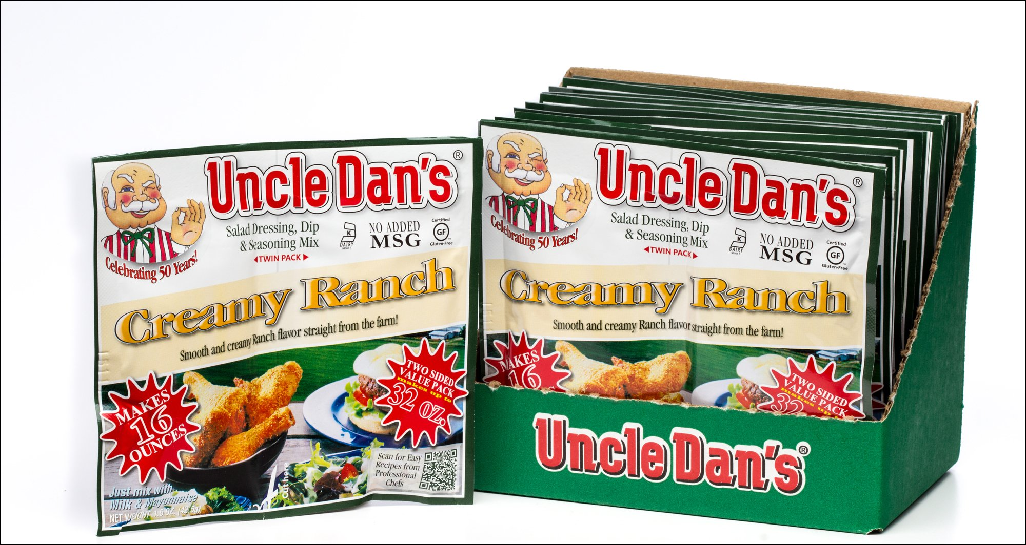 Uncle Dan's Dips, Seasonings and Salad Dressings Mix Packets - Creamy Ranch - Twin Pack - 12 Pack Case For the Perfect Homemade Flavor in Your Dry Rubs, Pasta Sauces & Marinades by Uncle Dan's