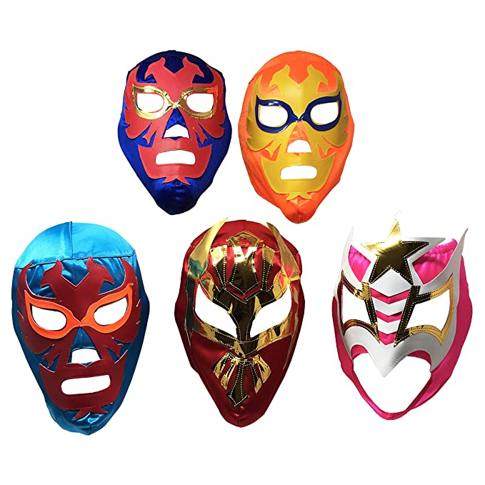 Amazon.com: 5PACK Mascaras de Luchador | Assorted Mexican Wrestling Masks | Excellent Costume for Mexican Fiesta| Adult Size Lucha Libre Mask | Traditional ...