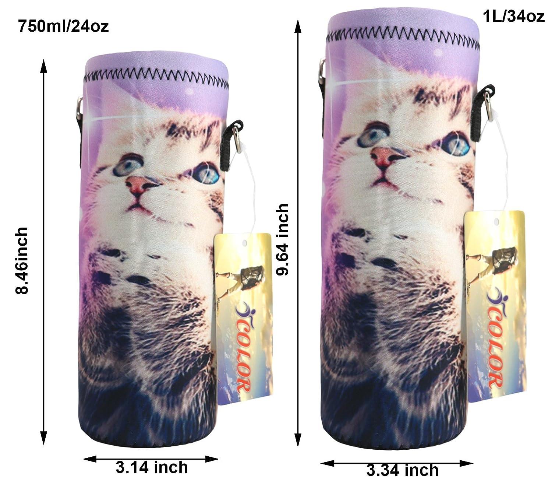 1000 Milliliter w//Adjustable Shoulder Strap,Sling Insulated Outdoor Sports Bottle Bag Case Pouch Cover,Fits Bottle Diameter Less 3.34 Fits Bottle Diameter less 3.34 COMIN16JU017517 ICOLOR 1L Water Bottle Carrier Holder Sleeve 34oz