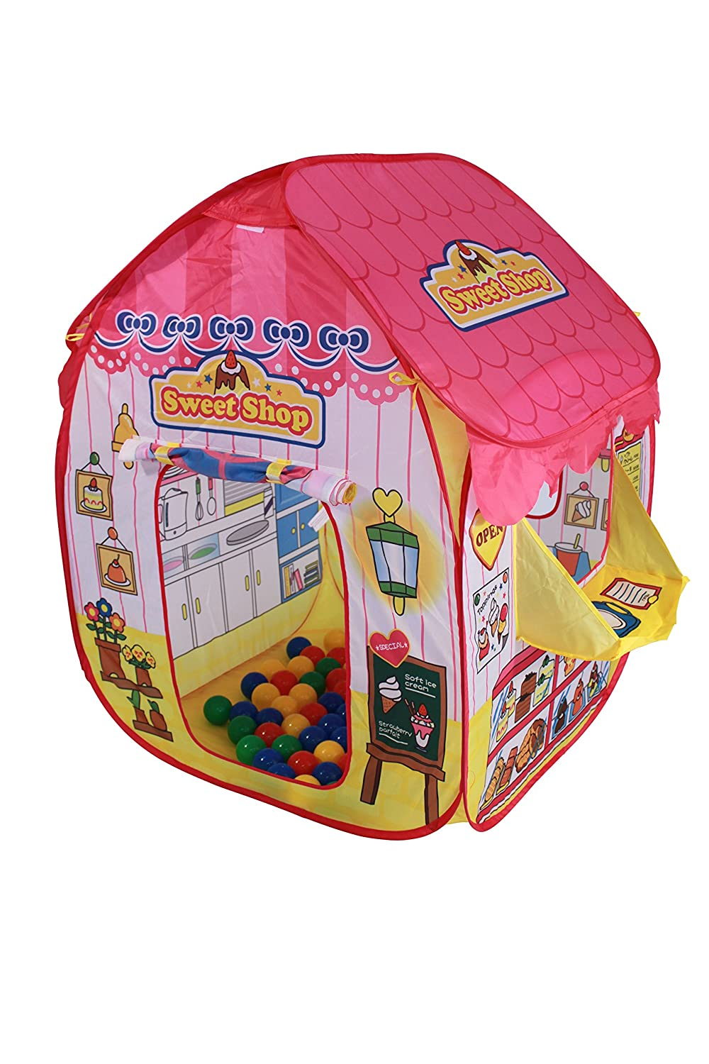 International Buying Services Pop up Sweet Shop Playtent + 100 Brightly Coloured Balls -pop up tent - Kids Tents - Pop up Play tent - Beautifully designed Childrens playtent IBS1008