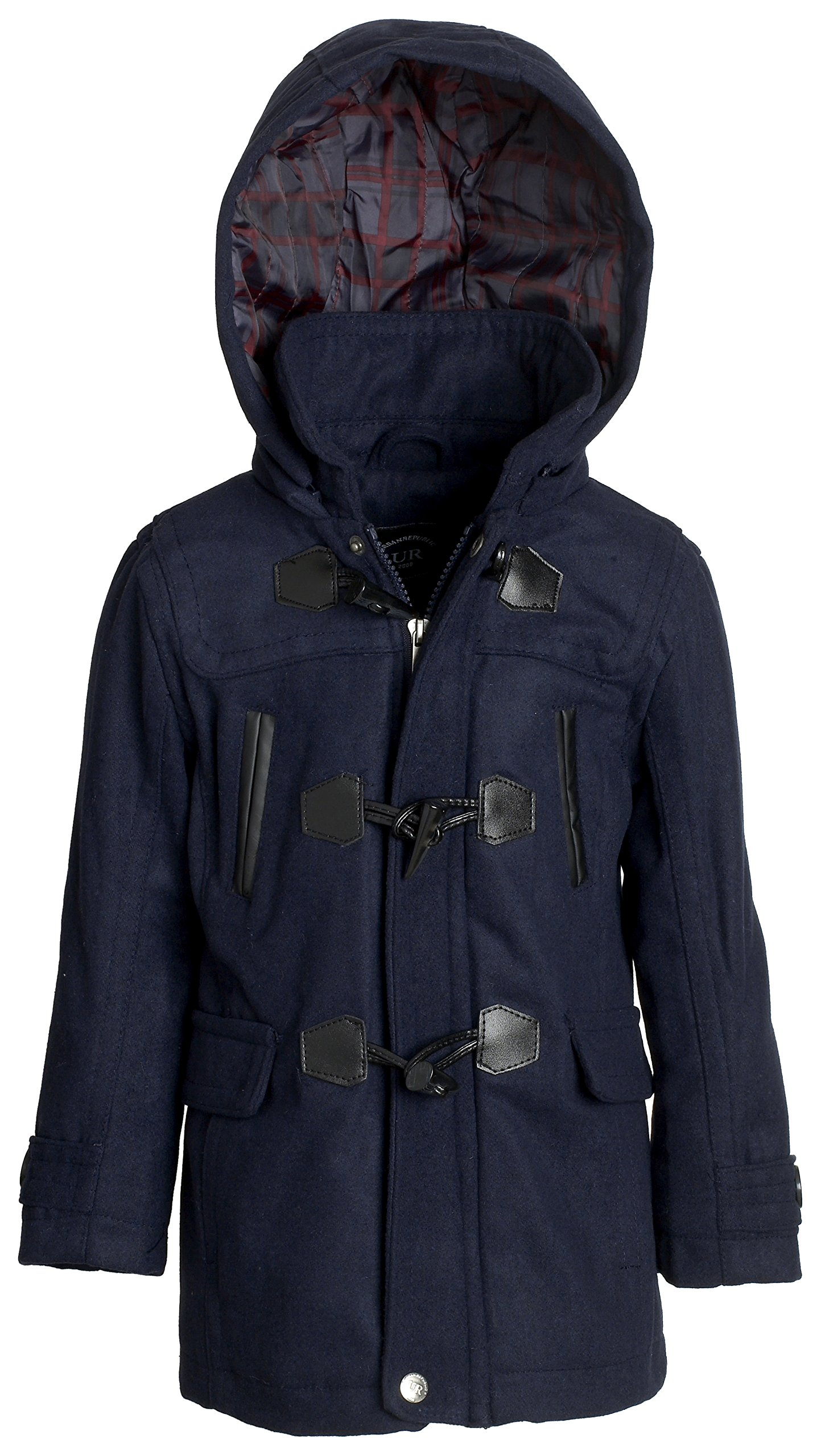 Urban Republic Boys Classic Wool Winter Toggle Coat with Hood & Quilted Lining - Navy (Size 18/20)