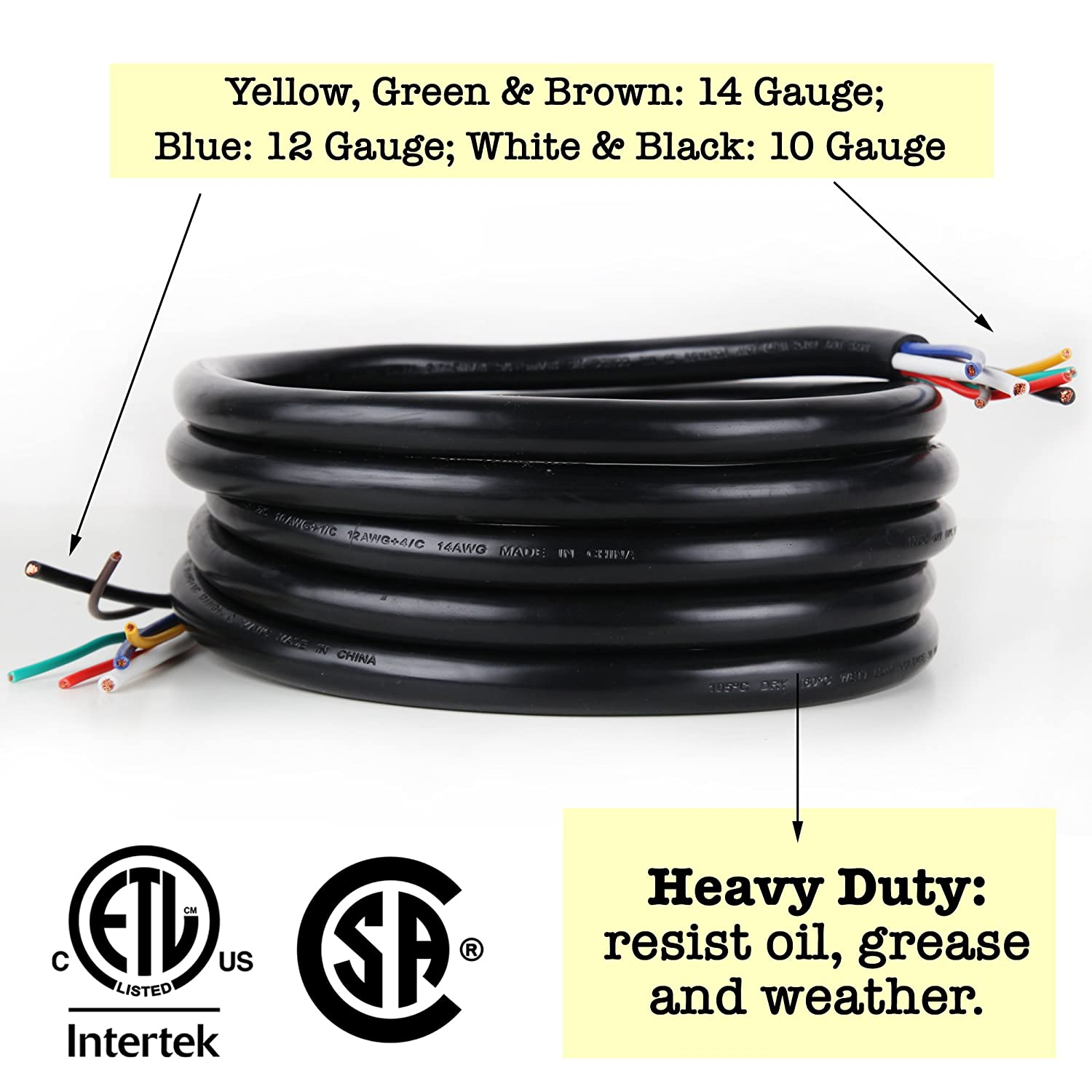 12FT DRM Products Inc. Proline Power 7 Way Trailer Cable 100/% Stranded Copper Wire STW Rated