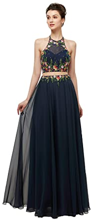 493a9c5aed58e Okaybrial Women s Plus Size Evening Dress Halter Embroidery Two Piece  Evening Party Dress Navy Blue