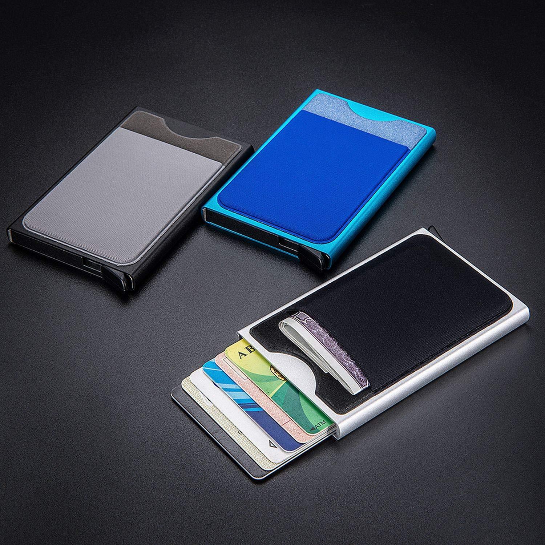 Slim Slide Card Holder Wallet Business Card Case Money Pocket Protector,Black