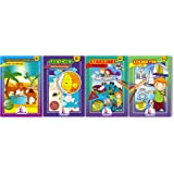 Activity Books For Kid's Age 5 + 4 Pack - Coloring Books Include Find The Difference, Stickers, Sketches And Star Lines