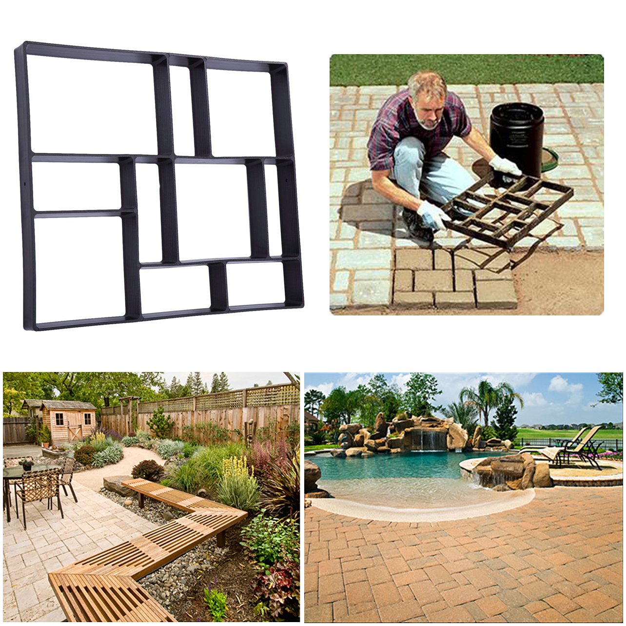 Rectangle DIY Pavement Mold Walk Maker Path Maker Brick Mold Concrete Form Pathmate Stepping Stone Molds for Concrete Mould Reusable for Garden, Court Yards, Patios and Walks, 23.6 x 19.7inches, 3Pack Ginbel Direct