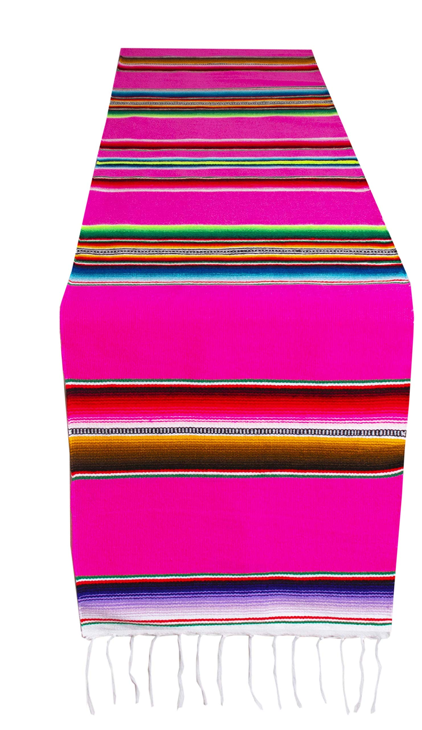 Threads West Genuine Mexican Premium Handwoven Bright MexicanTable Runner Saltillo Serape Colorful Striped Sarape 60'' x 12'' (Pink)