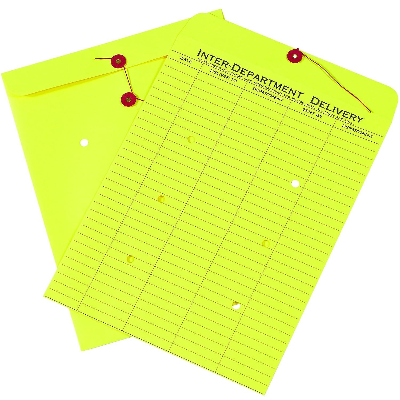 "BOX USA BEN1096 Inter-Department Envelopes, 10"" x 13"", Yellow (Pack of 100)"