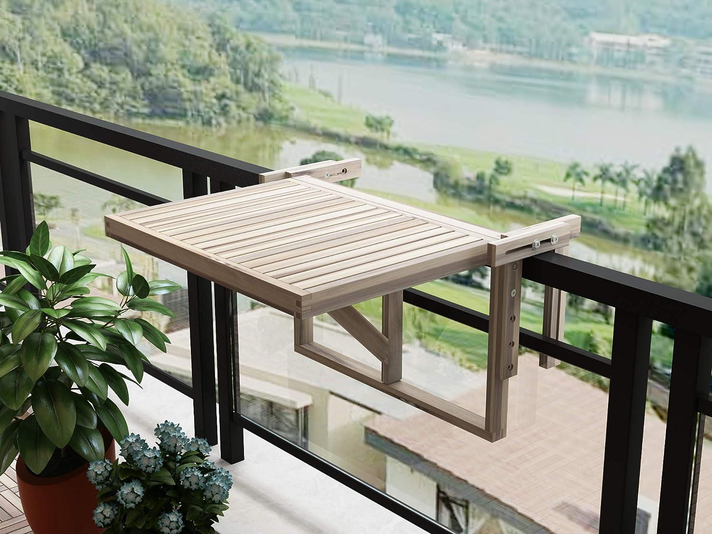 INTERBUILD REAL WOOD Mesa de balcón de Estocolmo (Blanco orgánico): Amazon.es: Jardín