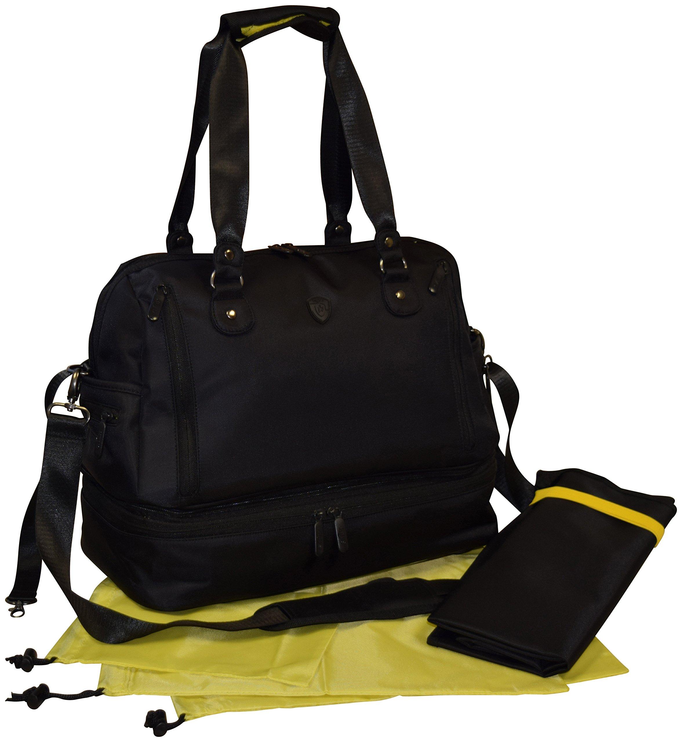 Heys Women Multi-Purpose 17'' Fitness Travel Duffel & Diaper Bag With Changing Pad (Black)