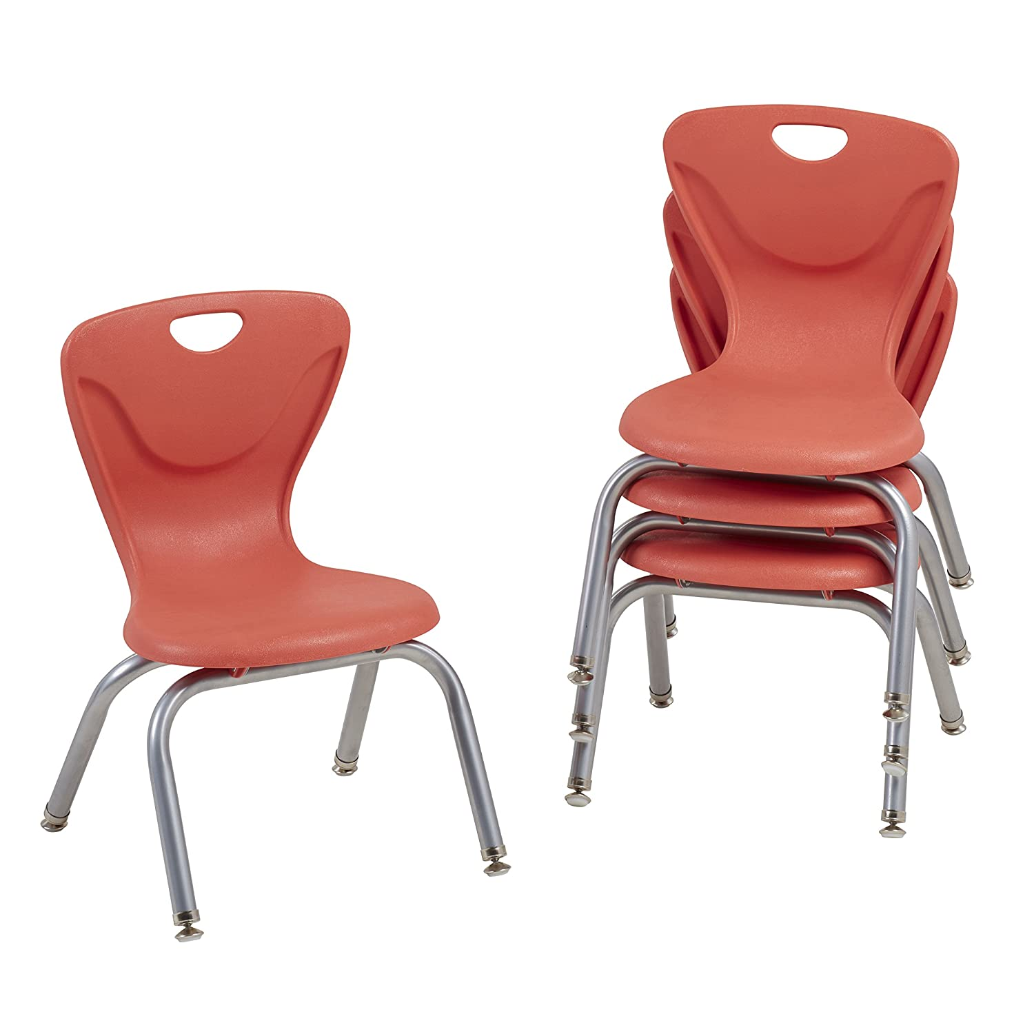 Black Set of 4 ECR4Kids 12 Contour School Stacking Student Chair Molded