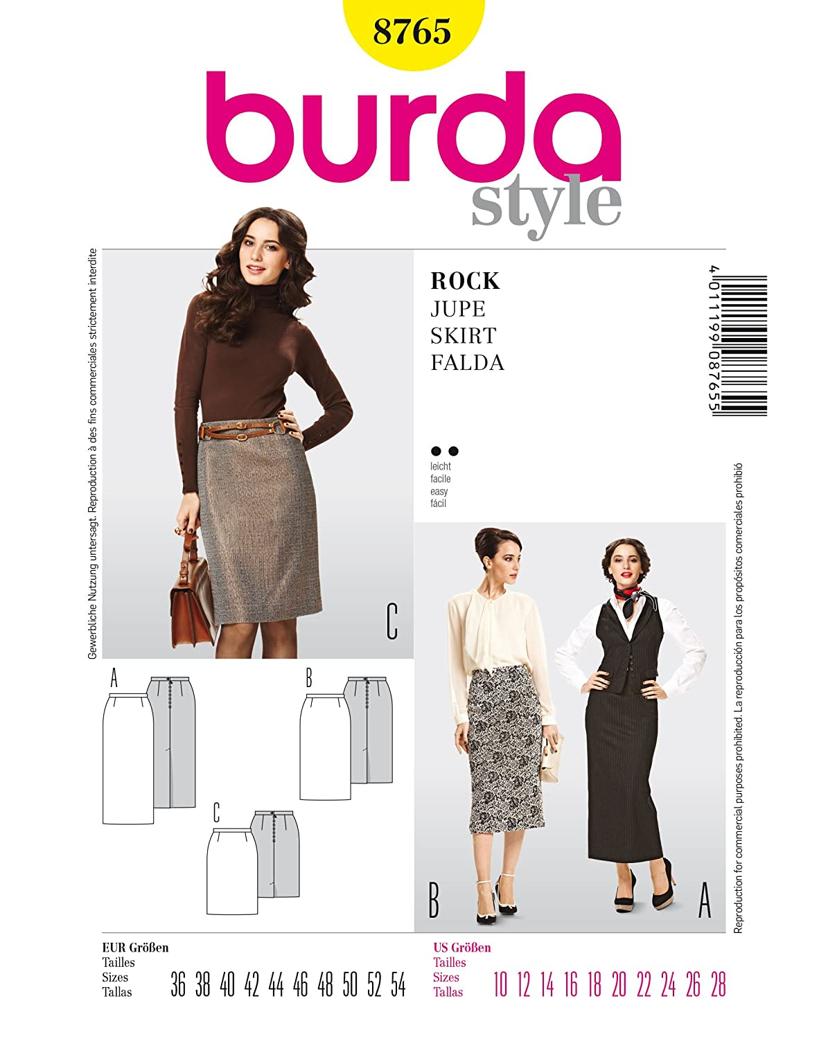 Burda B8765 Skirt Sewing Pattern 19 x 13 cm