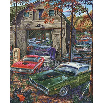 Vermont Christmas Company Cars on The Farm Jigsaw Puzzle 1000 Piece: Toys & Games