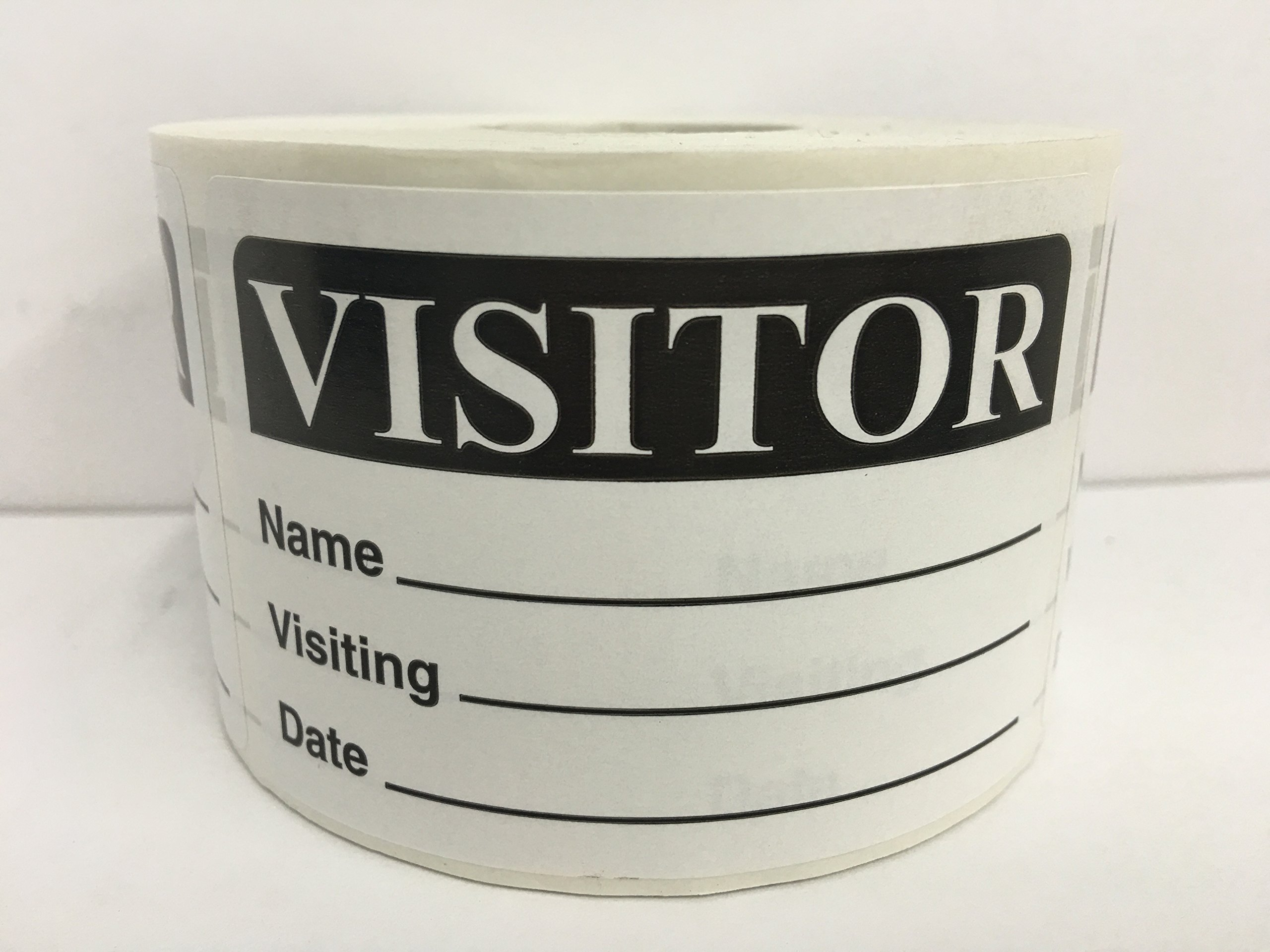 500 Labels BLACK 2x3 Visitor Name Tag Date Badge Tag Identification ID Stickers by Labels and More (Image #1)
