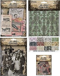Paper Dolls Tim Holtz 2020 Holiday -Christmas Worn Wallpaper Ephemera /& Snippets 4 Items
