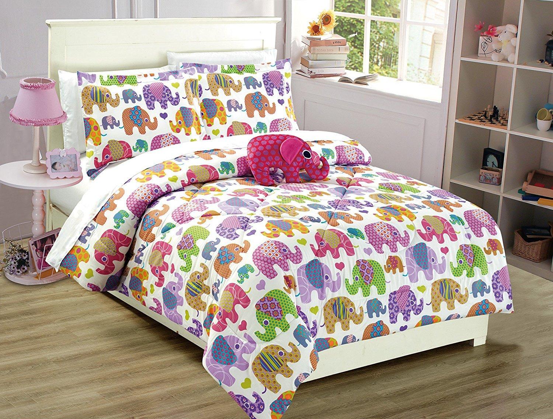 Linen Plus Full Size 8pc Comforter Set for Girls Elephants Flowers Hearts White Purple Pink Orange New