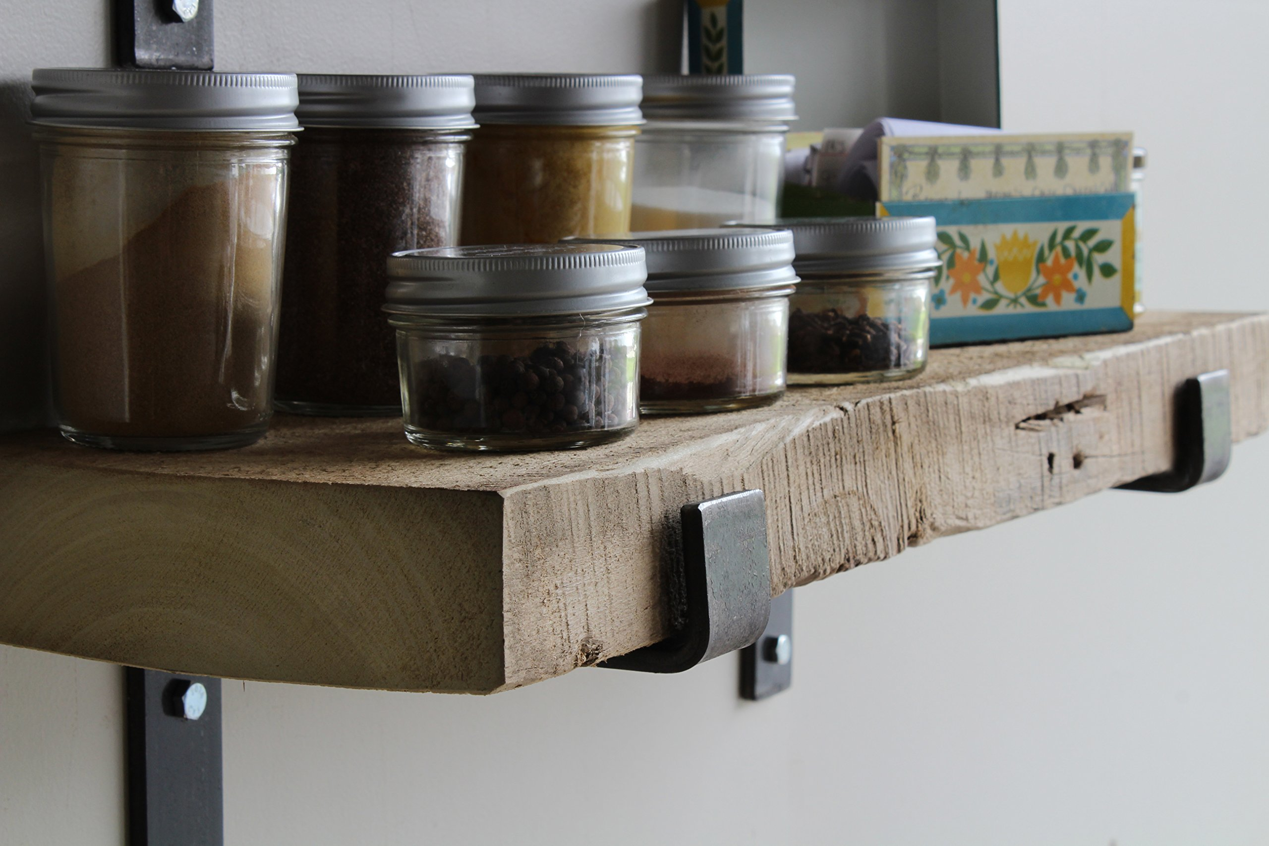Reclaimed Wood Accent Shelves Rustic Industrial - Amish Handcrafted in Lancaster County, PA - Set of Two | 24 Inches, (Genuine Salvaged/Reclaimed with Raw Metal Brackets) (Natural 24''x 7''x 2'') by Urban Legacy (Image #4)