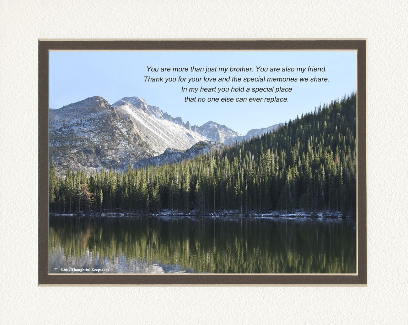 Brother Gift with You are more than just my Brother. You are also my Friend. Poem, Snow Mt Lake Photo, 8x10 Double Matted for Brothers, Brother Gifts for Christmas, Birthday