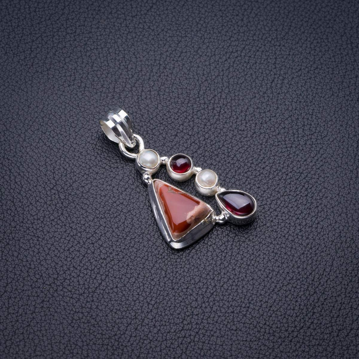 Natural Mexican Opal,River Pearl And Amethyst Handmade 925 Sterling Silver Pendant 1.5 D2774