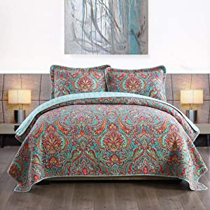 NEWLAKE Cotton Bedspread Quilt Sets-Reversible Patchwork Coverlet Set, European Gorgeous Floral Pattern, King Size