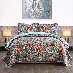 NEWLAKE Cotton Bedspread Quilt Sets-Reversible Patchwork Coverlet Set European Gorgeous Floral Pattern Queen Size