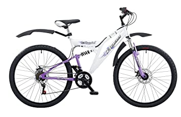 fe812a60e46 Boss Stealth Womens Dual Suspension Mountain Bike - 18 Inch, White/Purple