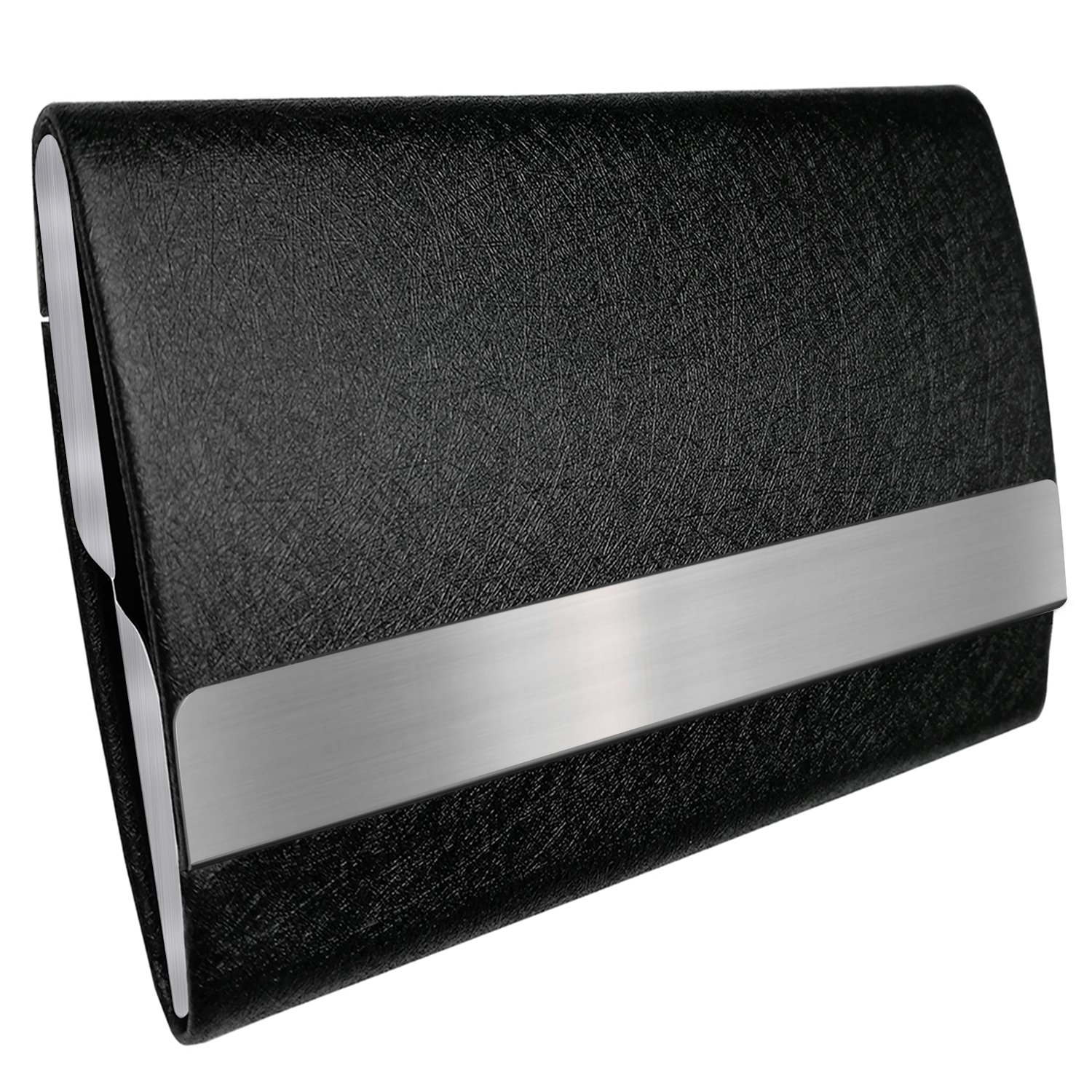 Bolier Business Card Holder, Leather Business Card Case with Magnetic Shut, Holds 25 Business Cards, Men or Women Name Card Holder Case, Larger Capacity (Double-Side Design)