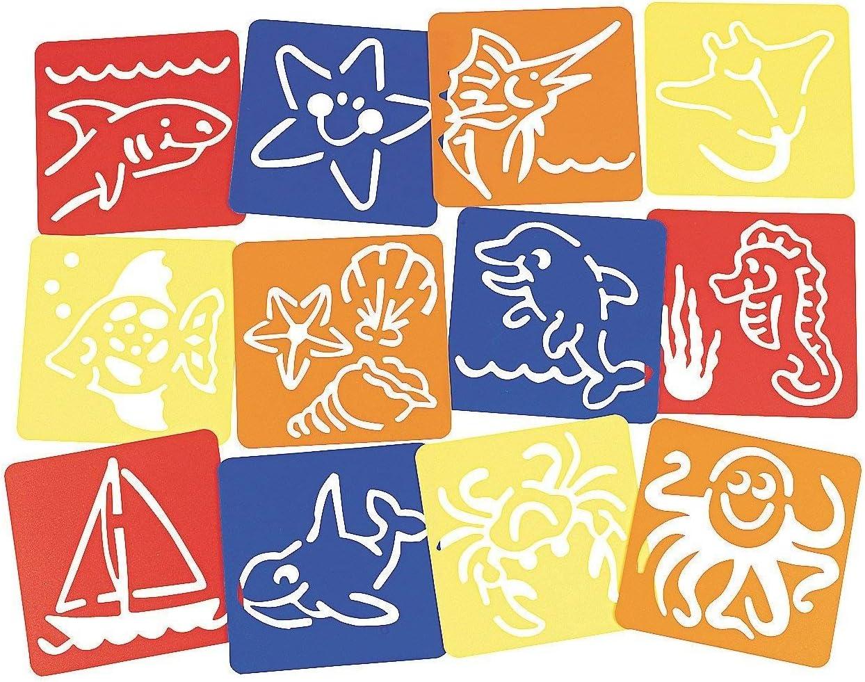 Fun Express Under The Sea Ocean Life Stencils - 12 Pieces
