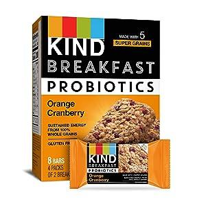 KIND Breakfast Probiotic Bars, Orange Cranberry, 32 Count