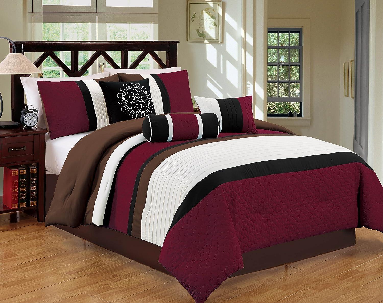 Luxlen 7 Piece Bedding Set, Comforter, Blue p2-20789-bluegrey-q