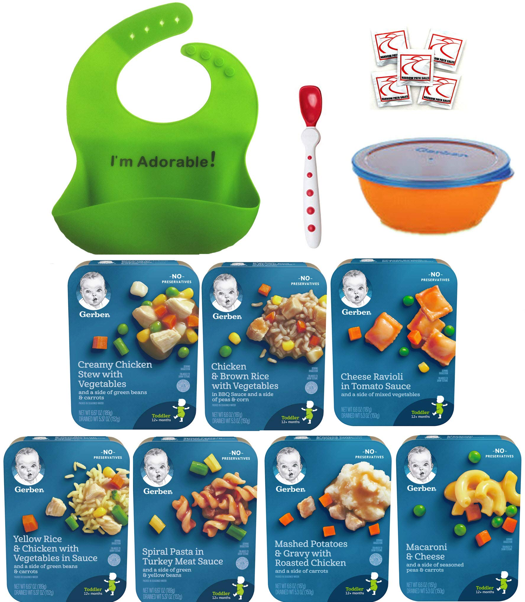 Gerber Graduates Lil Entrees Variety Meal Bundle of 7 flavors 6.6 oz each, Bowl, Spoon and Silicone Bib included. Gift Package Care Package, Baby feeding set by Narrow Path Sales (Image #1)